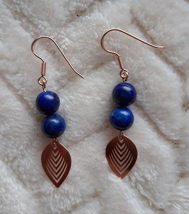 Boucles d'oreilles Lapis lazuli et Feuille argent 925 doré rose