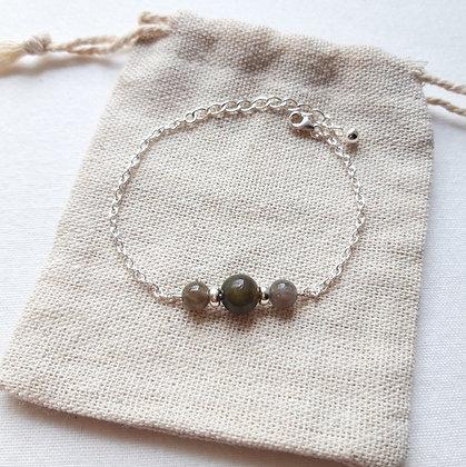 Bracelet Labradorite et chaîne argent 925