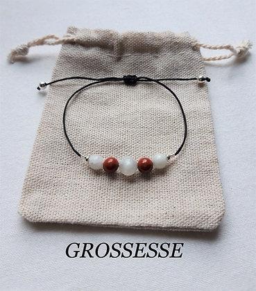 "Bracelet ""Grossesse"" en Pierres naturelles, Pierre de lune, Jaspe rouge"