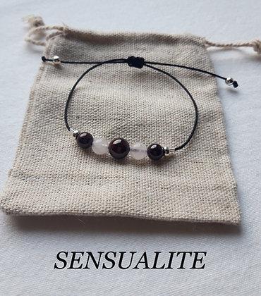 """Bracelet """"Sensualité"""" en Pierres naturelles, Quartz rose, Grenat"""
