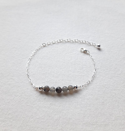 Bracelet 5 Pierres Labradorite et chaîne argent 925