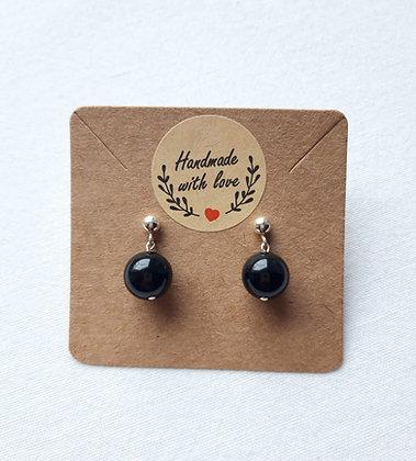 Boucles d'oreilles Obsidienne noire et clou argent 925