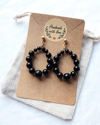 Boucles d'oreilles créoles en perles Obsidienne noire, argent 925 doré