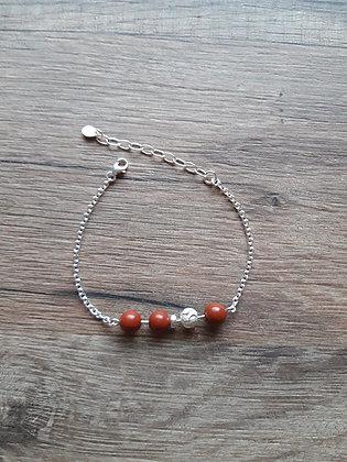 Bracelet Jaspe rouge et chaîne argent 925
