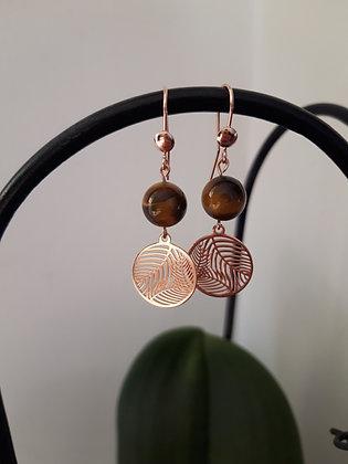 Boucles d'oreilles Œil-de-tigre et Feuille de palmier argent 925 doré rose