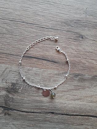 Bracelet en argent 925, médaille et pierre fine Labradorite