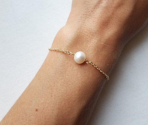 Bracelet Perle d'eau douce naturelle et chaîne argent 925 doré à l'Or fin