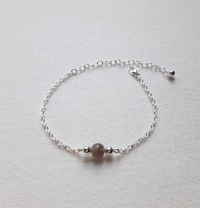 Bracelet Pierre fine Labradorite et chaîne argent 925