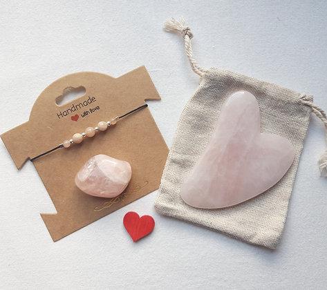 Box Bien-être Quartz rose et bracelet pierre de lune ou pierre de soleil