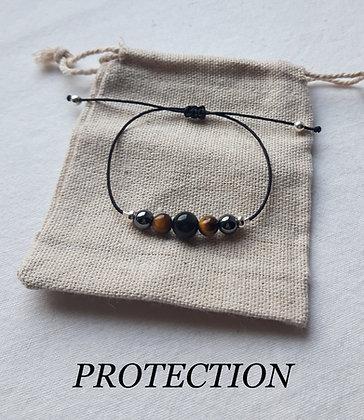 """Bracelet """"Protection"""" en Pierres naturelles, Obsidienne, Œil-de-tigre, Hématite"""