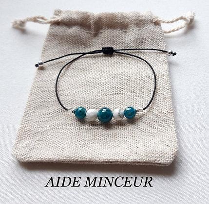 "Bracelet ""Aide minceur / Perte de poids"", Apatite et Howlite de Madagascar"