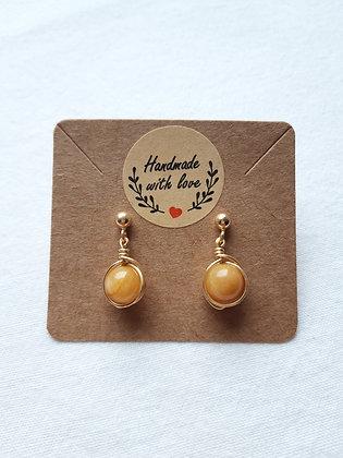 Boucles d'oreilles Topaze impériale enroulée de fil argent 925 doré jaune