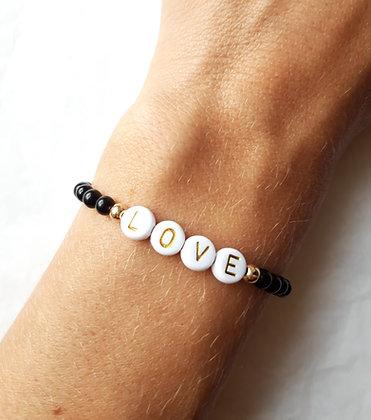 Bracelet personnalisable en obsidienne noire, finitions argent 925 doré