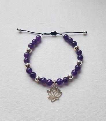 Bracelet Zen Améthyste et Fleur de lotus, argent 925