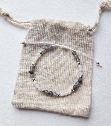 Bracelet fin en perles Pierre de lune, Labradorite, et perles argent 925