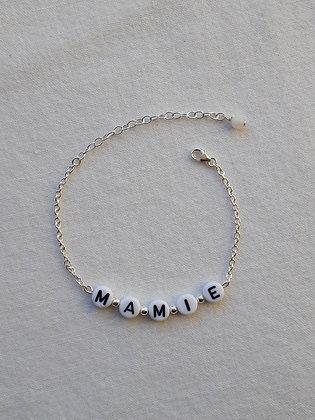 Bracelet MAMIE en argent 925, perles lettres acrylique et Pierre de lune