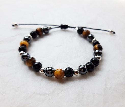 Bracelet Triple protection - Obsidienne, Œil-de-tigre, Hématite - Modèle 1