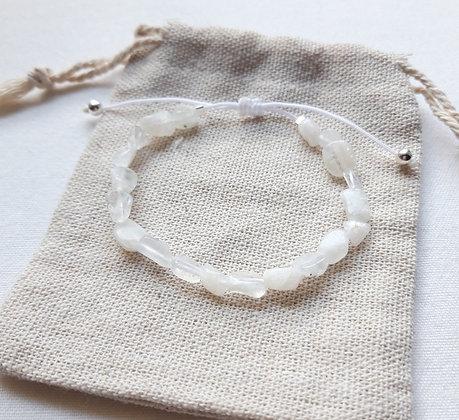 Bracelet Pierre de lune perles puces, finition argent 925