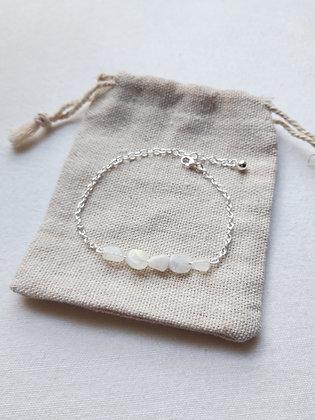 Bracelet Pierre de lune perles puces et chaîne argent 925