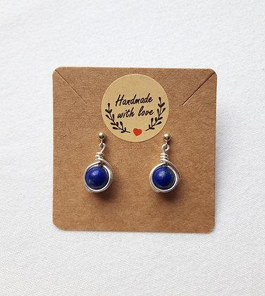 Boucles d'oreilles Lapis lazuli enroulée de fil argent 925