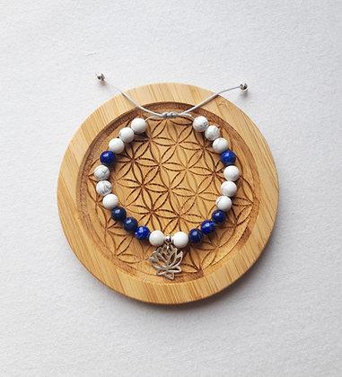 Bracelet Howlite, Lapis Lazuli et Fleur de lotus argent 925