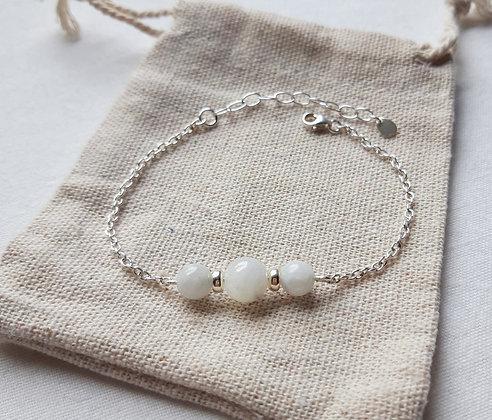 Bracelet Pierre de lune et chaîne argent 925