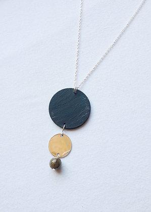 Sautoir Labradorite et Ardoise naturelle, argent 925
