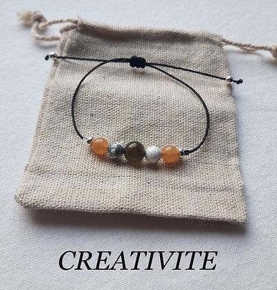 """Bracelet """"Créativité"""" en Pierres naturelles, Labradorite, Howlite, Cornaline"""