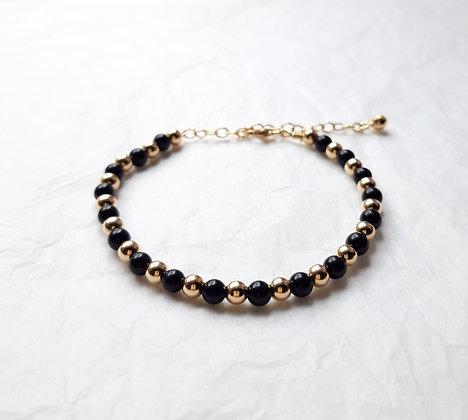 Bracelet fin Obsidienne noire et argent 925 doré à l'Or fin
