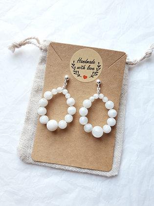 Boucles d'oreilles créoles en perles Pierre de lune, argent 925