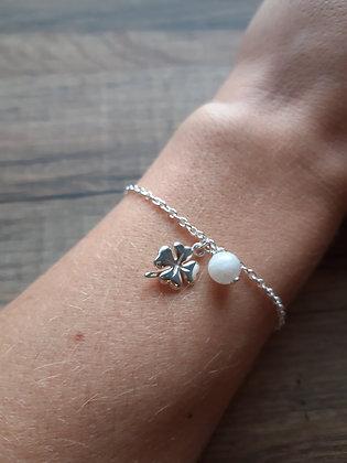Bracelet porte-bonheur en argent 925 et pierre au choix