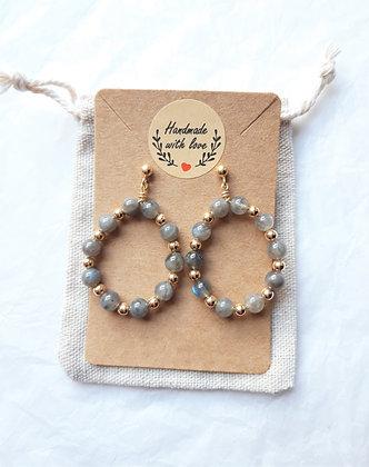 Boucles d'oreilles créoles en perles Labradorite, argent 925 doré