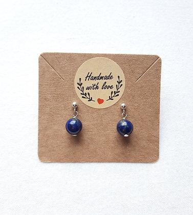Boucles d'oreilles Lapis-Lazuli et clous argent 925