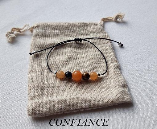 """Bracelet """"Confiance"""" en Pierres naturelles, Œil-de-tigre, Cornaline"""