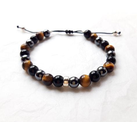 Bracelet Triple protection - Obsidienne, Œil-de-tigre, Hématite - Modèle 2