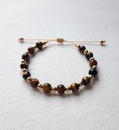 Bracelet Œil-de-tigre, pierres naturelles et argent 925 doré à l'Or fin