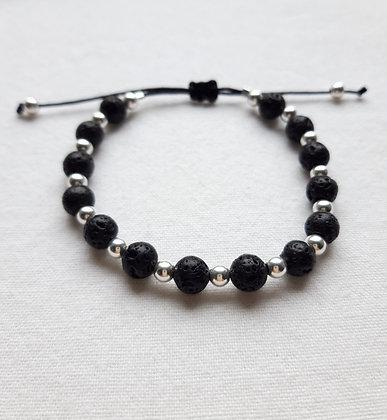 Bracelet diffuseur d'huiles essentielles en Pierre de lave et perles argent 925