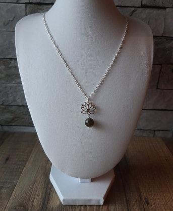 Collier Labradorite et Fleur de lotus argent 925
