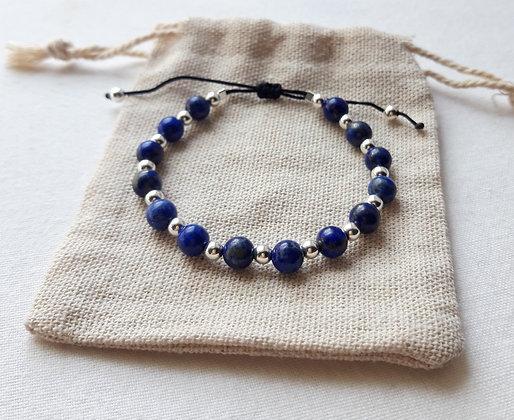 Bracelet Lapis-Lazuli, pierres naturelles et argent 925