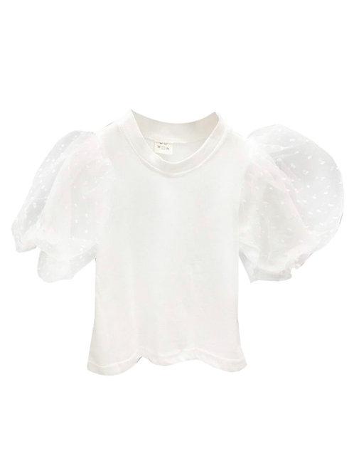 White Mesh Plush Short Sleeve Top