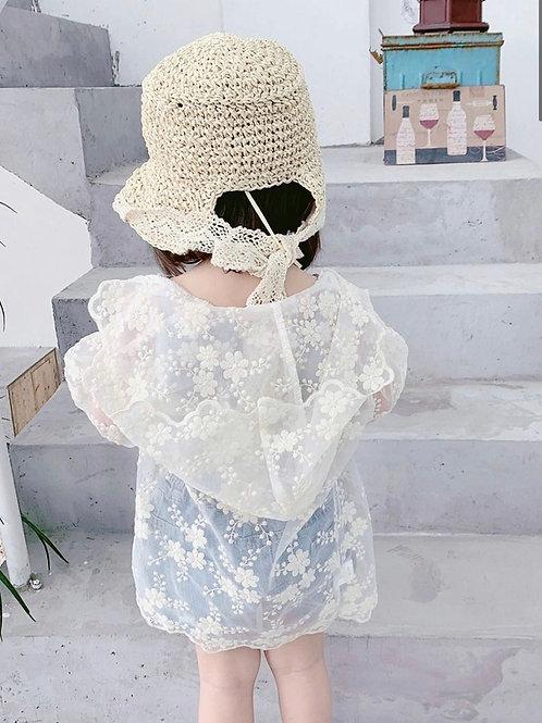White Hooded Lace Jenna Cardigan