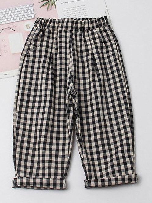 Patterned Plaid Fabric Pants