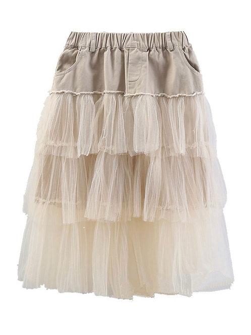 Mia Mesh Patchwork Layered Skirt