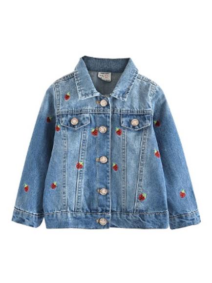 Strawberry Embroidered Denim Jacket