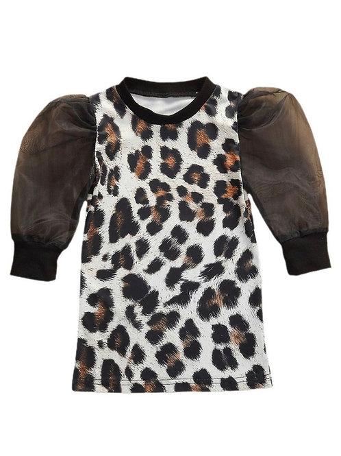Doll Baby Leopard Print Puffy Sleeve Dress