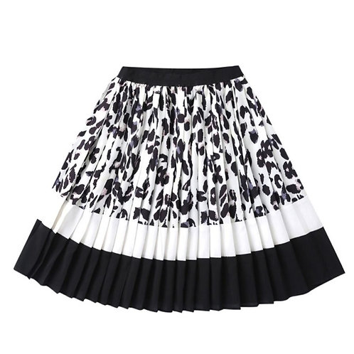 Color Blocking Pleated Leopard Print Sassy Skirt