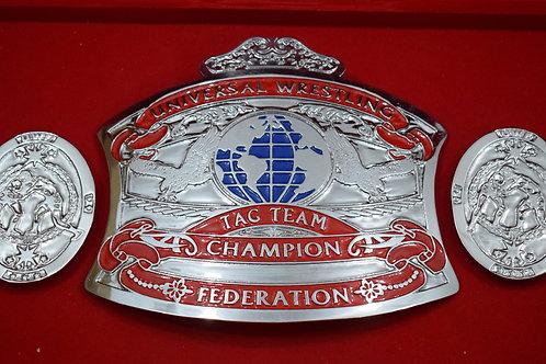 UWF Universal Wrestling Tag Team (Zinc) Championship Belt