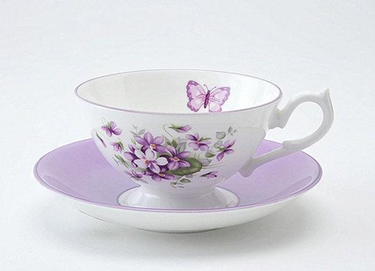 English Violet Teacup & Saucer Athens