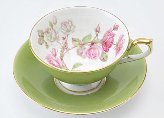 Elizabeth Rose Athens Teacup & Saucer Mill Green
