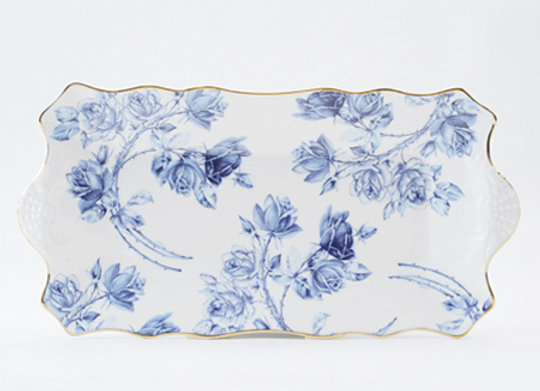 Elizabeth Rose Blue Sandwich Tray